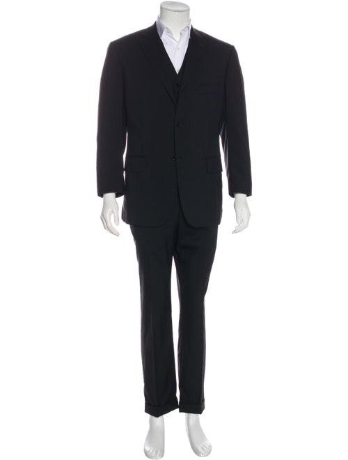 Isaia Wool Three-Piece Suit black