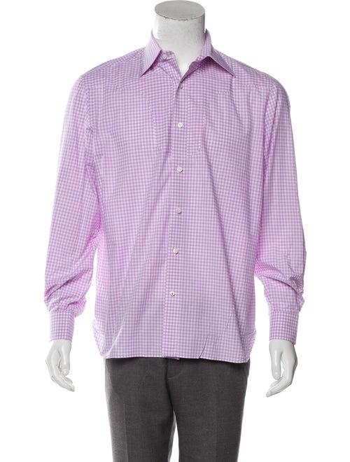 Isaia Checkered Button-Up Shirt white