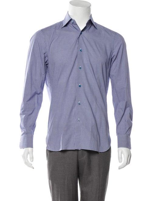 Isaia Gingham Dress Shirt navy