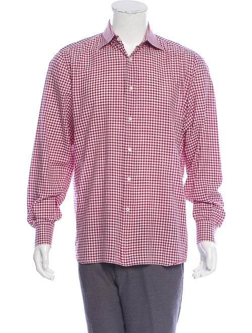 Isaia Gingham Woven Dress Shirt red