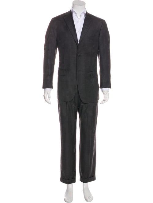 Isaia Wool Pin-Stripe Two-Piece Suit Set grey