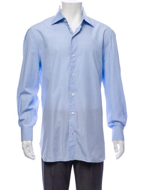 Isaia Micro Madras Plaid Shirt blue