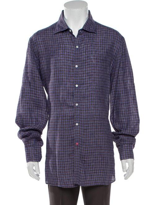 Isaia Linen Plaid Print Shirt Blue