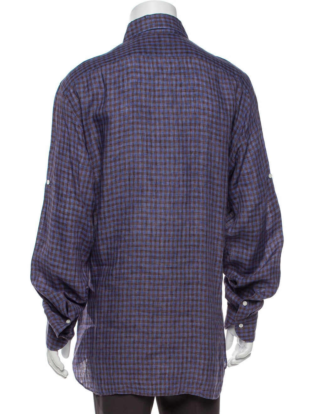 Isaia Linen Plaid Print Shirt Blue - image 3