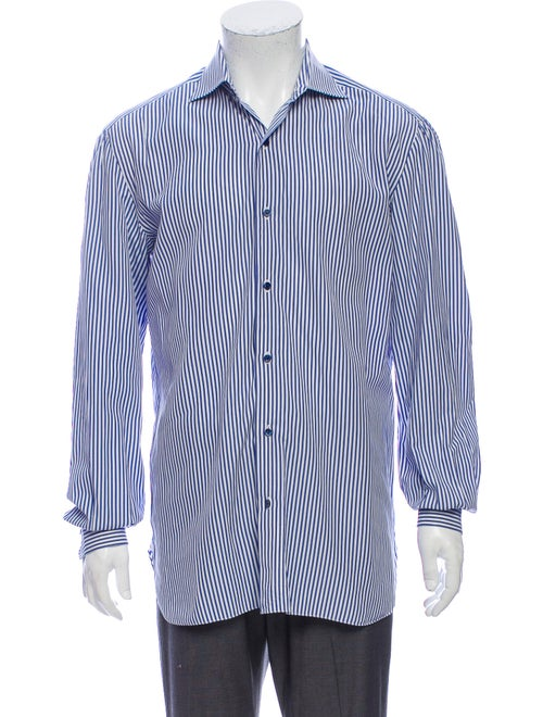 Isaia Striped Long Sleeve Shirt Blue