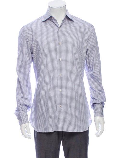 Isaia Plaid Print Long Sleeve Shirt White