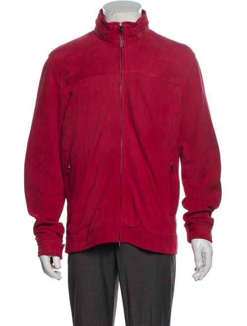 Isaia Leather Puffer Coat w/ Tags Red