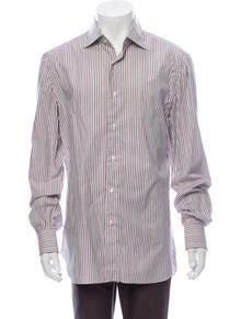 Isaia Striped Long Sleeve Dress Shirt