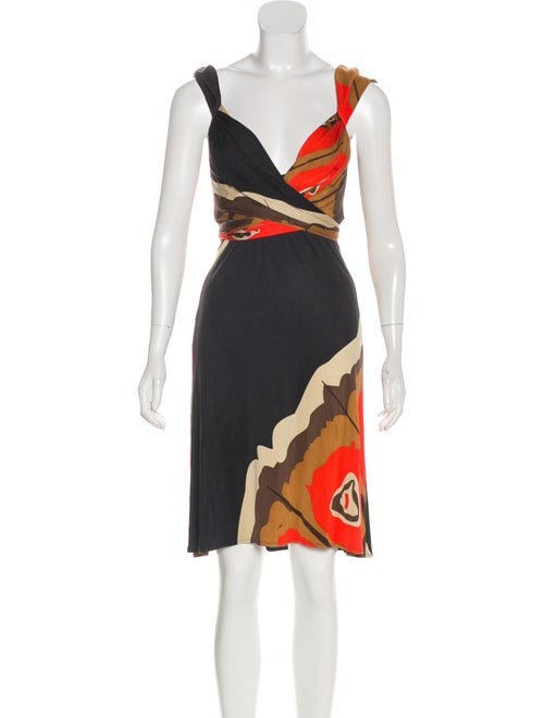 Issa Printed Jersey Dress Black