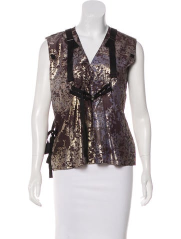 Silk Patterned Blouse w/ Tags