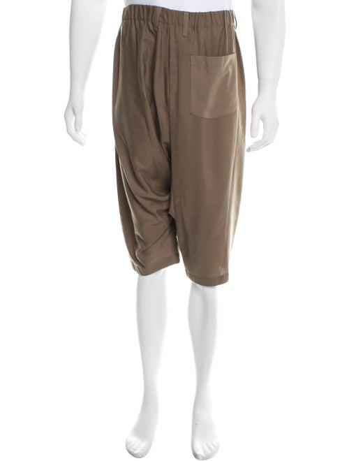 Issey Miyake Woven Cropped Pants khaki