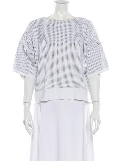 Issey Miyake Bateau Neckline Short Sleeve Top Whit