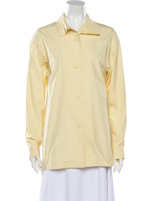 Issey Miyake 1980 Long Sleeve Button-Up Top Yellow - image 1