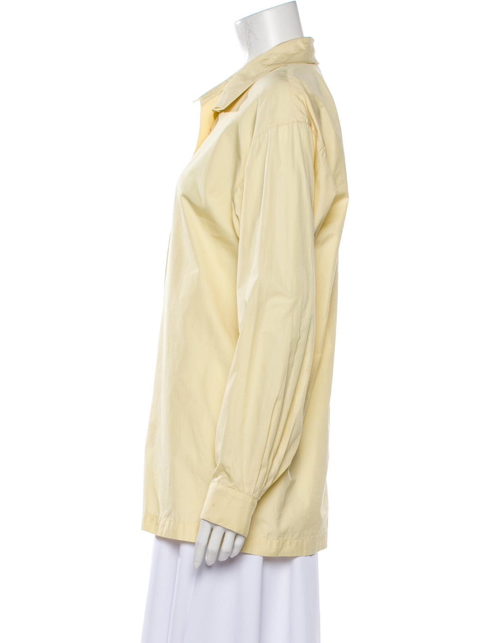 Issey Miyake 1980 Long Sleeve Button-Up Top Yellow - image 2