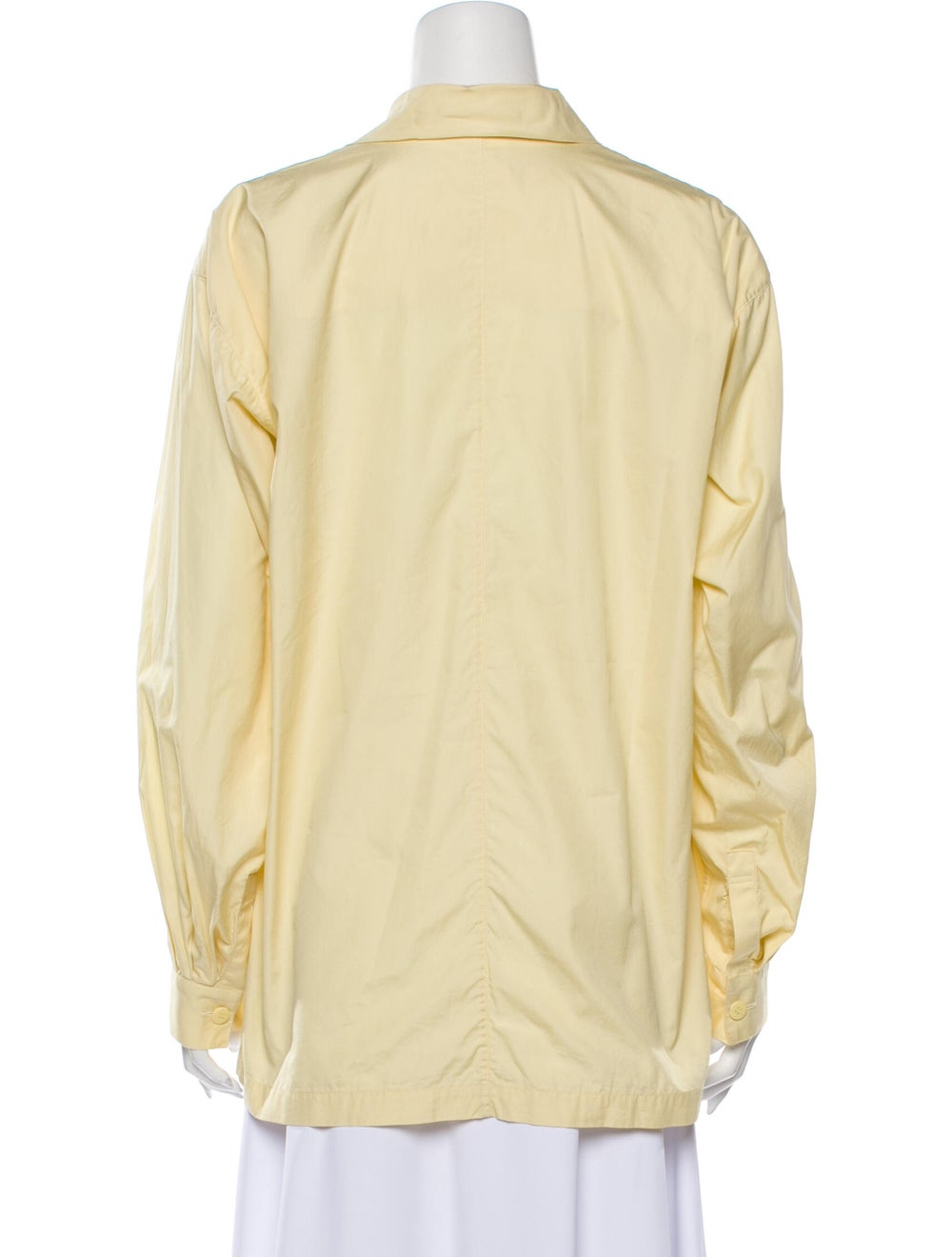 Issey Miyake 1980 Long Sleeve Button-Up Top Yellow - image 3