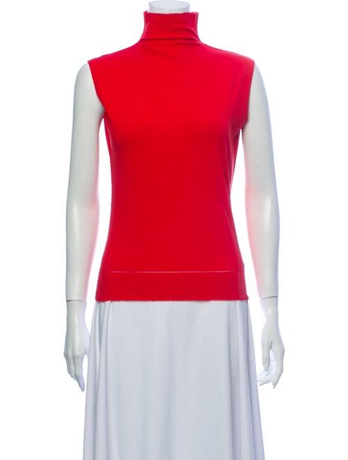 Issey Miyake Turtleneck Sleeveless Top Red
