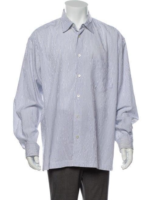 Issey Miyake Striped Long Sleeve Dress Shirt White