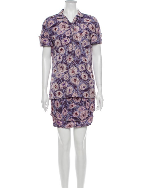 Istante by Versace Silk Floral Print Skirt Set Pur