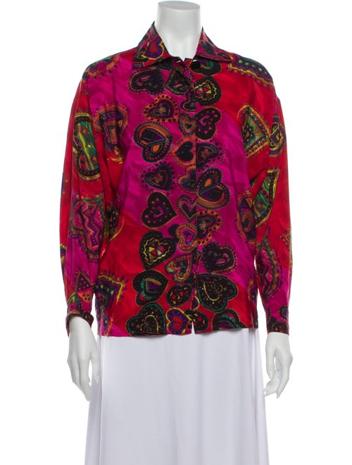 Istante by Versace Silk Printed Blouse Pink