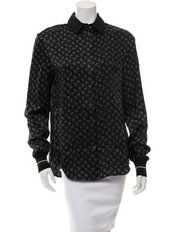 Jason Wu Printed Button-Up Blouse w/ Tags None