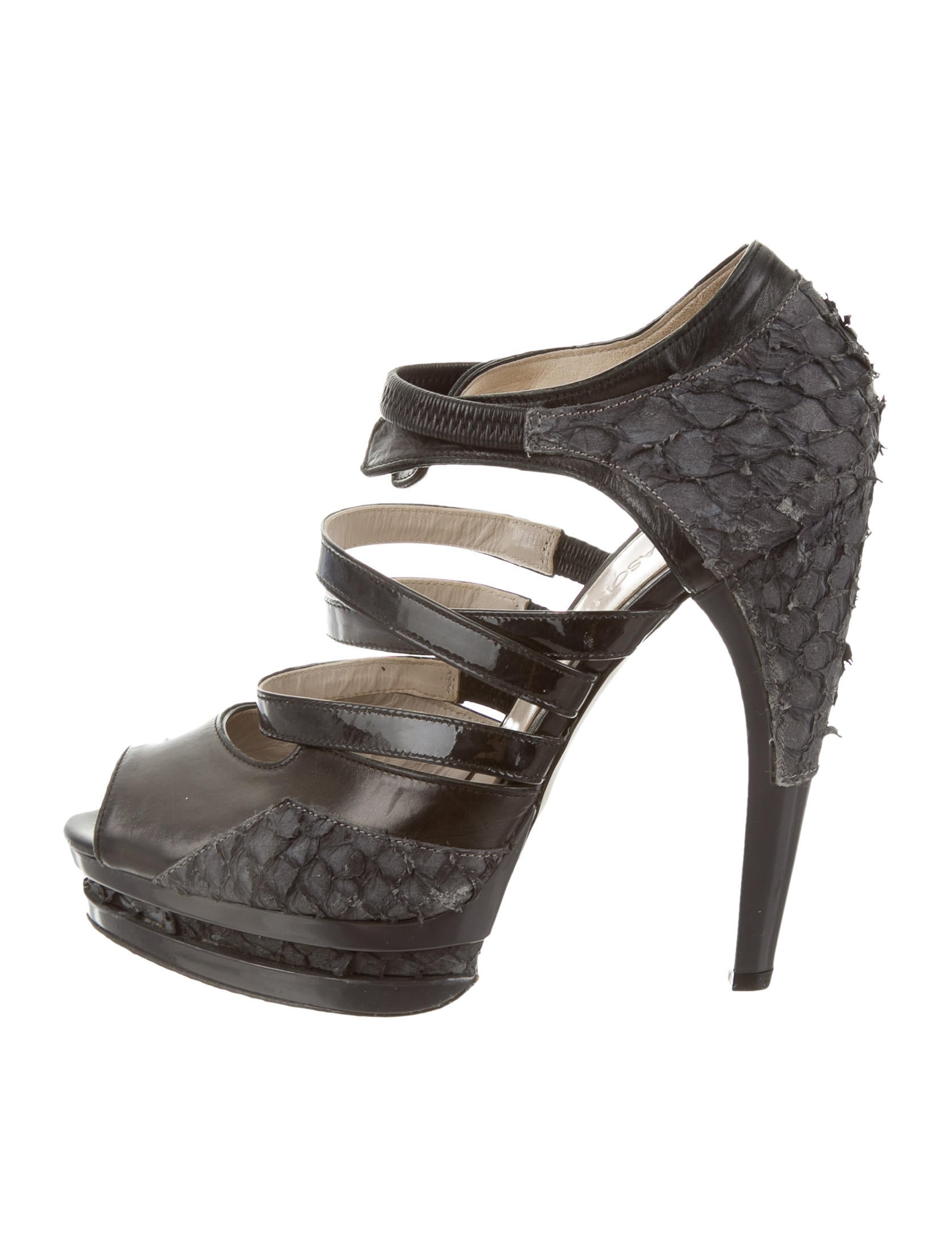 Jason wu fish skin platform sandals shoes jas22711 for Shoes with fish in them