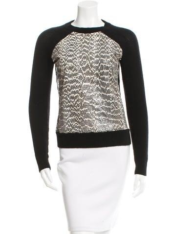 Jason Wu Snakeskin & Wool Sweater None