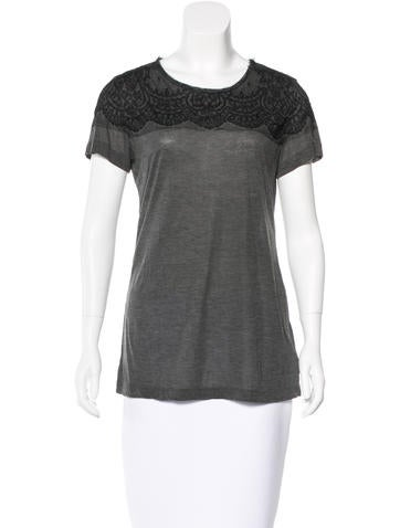 Jason Wu Lace-Trimmed Woven Top None