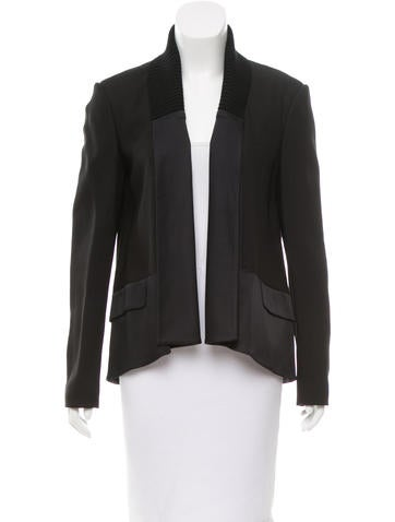 Jason Wu Open Front Rib Knit-Trimmed Jacket None