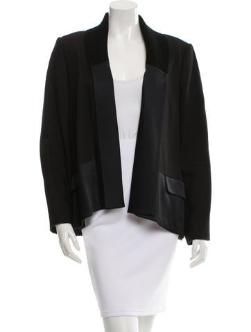 Jason Wu Rib Knit-Trimmed Open Front Jacket None