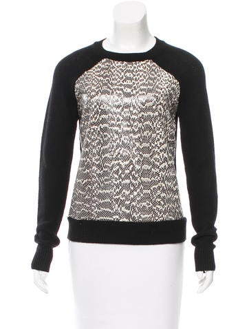Jason Wu Wool Snakeskin-Paneled Sweater