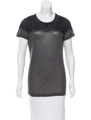 Jason Wu Lace-Accented Short Sleeve Top None