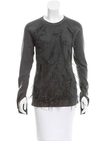Jason Wu Feather-Embellished Rib Knit Sweater None