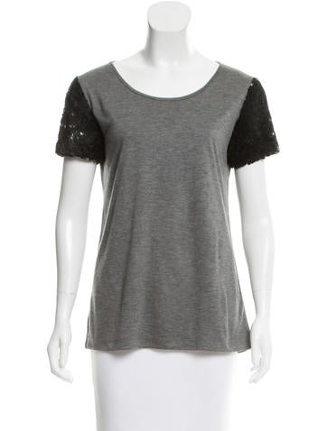 Jason Wu Sequined Sleeve Scoop Neck T-Shirt None