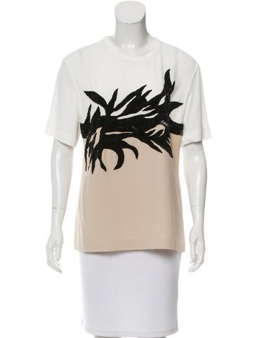 Jason Wu Embellished Short Sleeve Top None