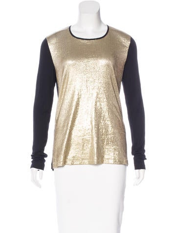 Jason Wu Metallic Long Sleeve Top None