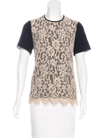 Jason Wu Short Sleeve Lace-Accented Top None