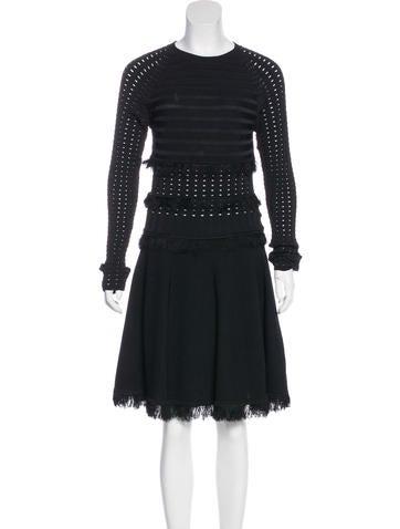 Jason Wu Fringe-Trimmed Knit Dress None