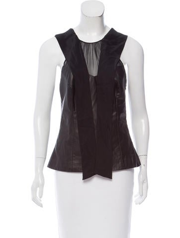 Jason Wu Sleeveless Leather Top None