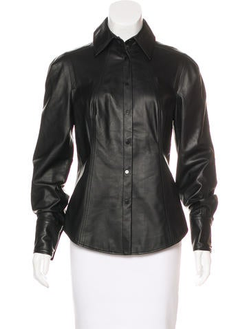 Jason Wu Leather Long Sleeve Top None