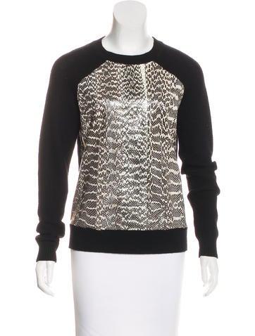 Jason Wu Snakeskin Wool Sweater None