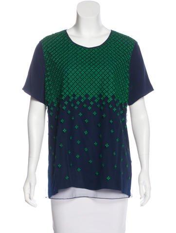 Jason Wu Embroidered-Paneled Silk Top None