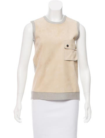 Jason Wu Suede-Paneled Top None