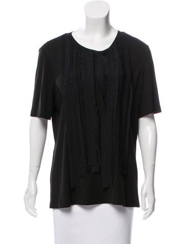 Jason Wu Jason Wu Lace-Paneled Short Sleeve Top None