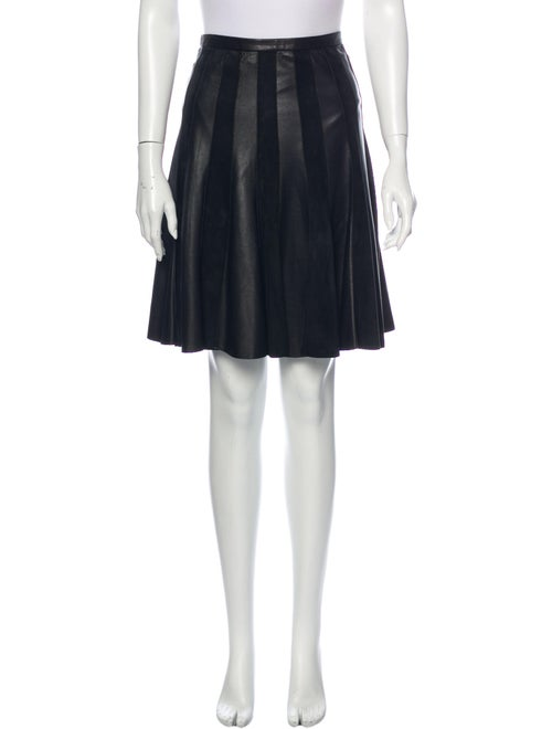 Jason Wu Leather Knee-Length Skirt Black