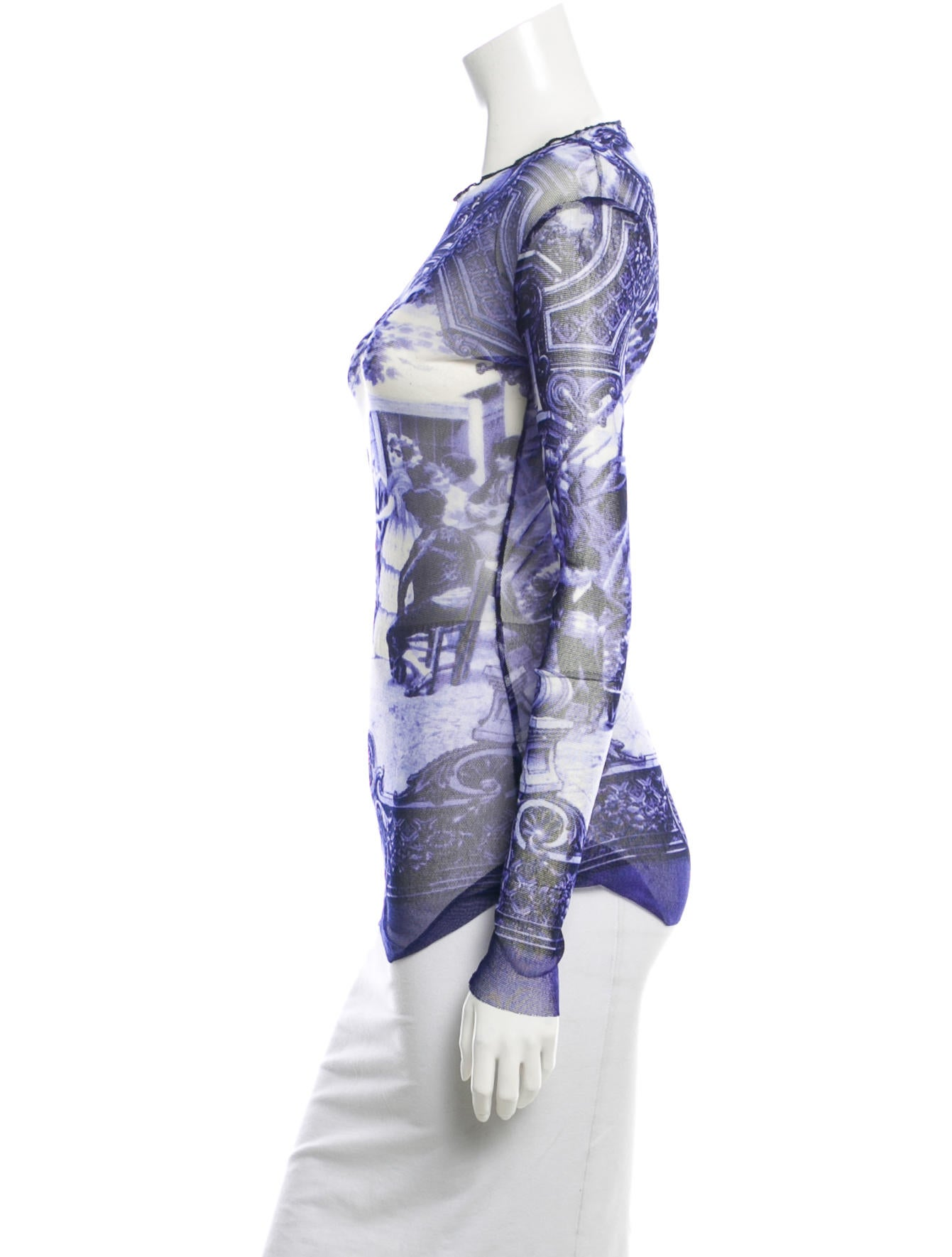 jean paul gaultier printed mesh top clothing jea23693