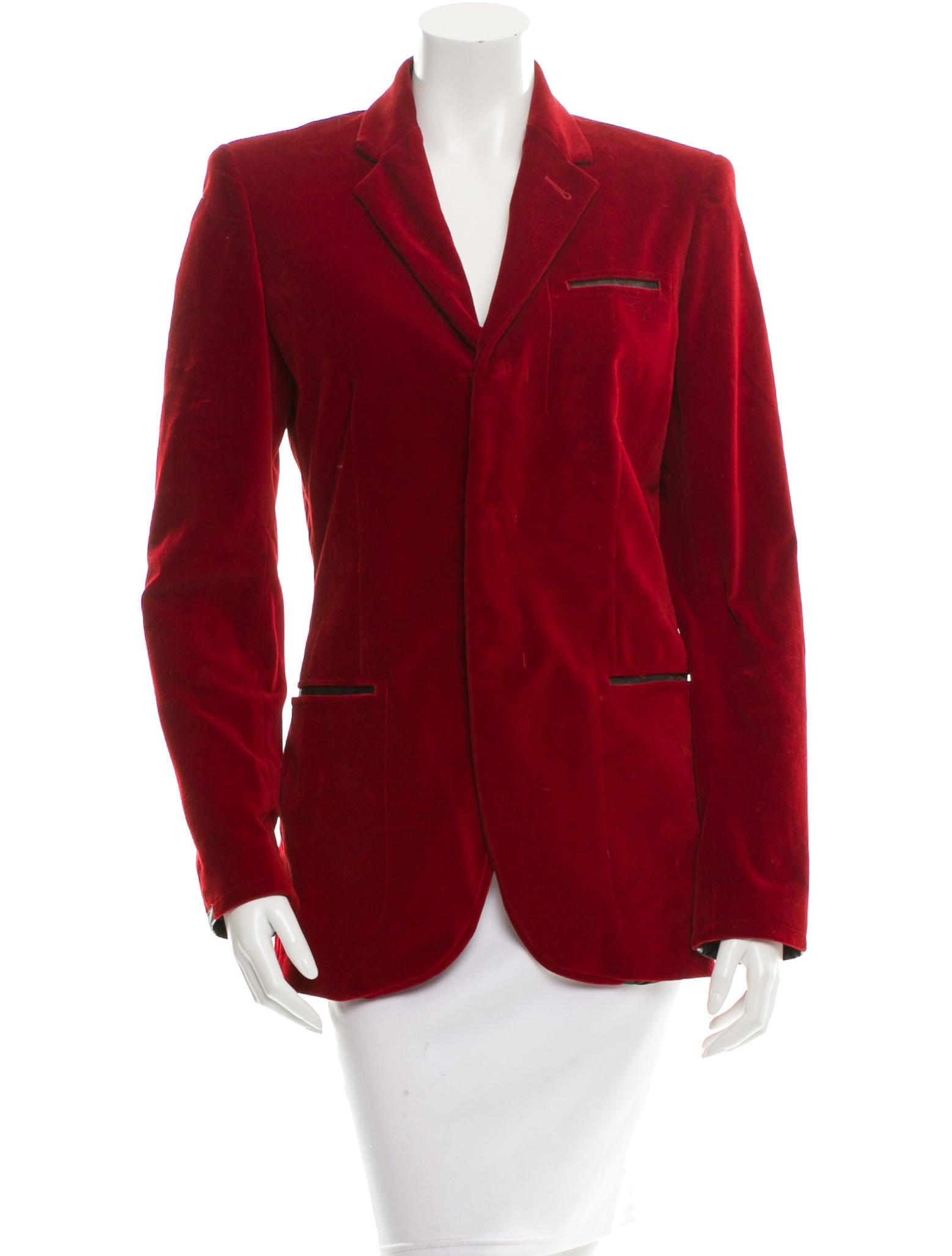 Jean paul gaultier velvet button up blazer clothing for Red velvet button up shirt