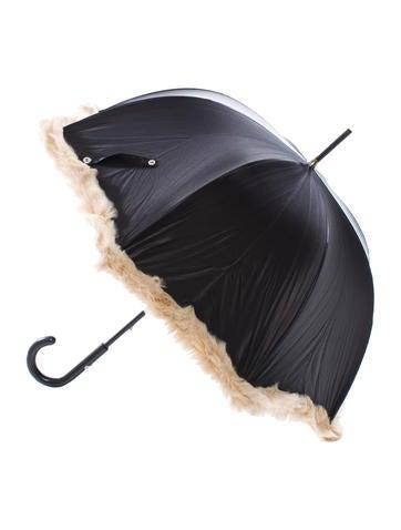 Satin Fur-Trimmed Umbrella
