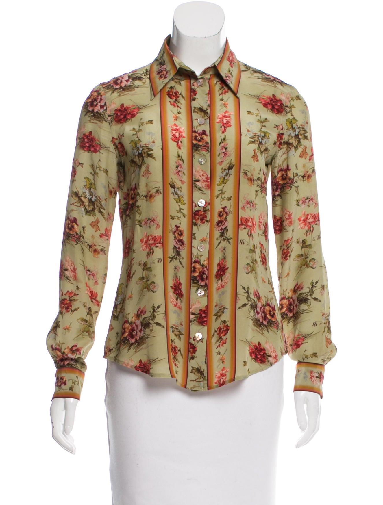 Jean paul gaultier floral print silk blouse clothing for Jean paul gaultier clothing
