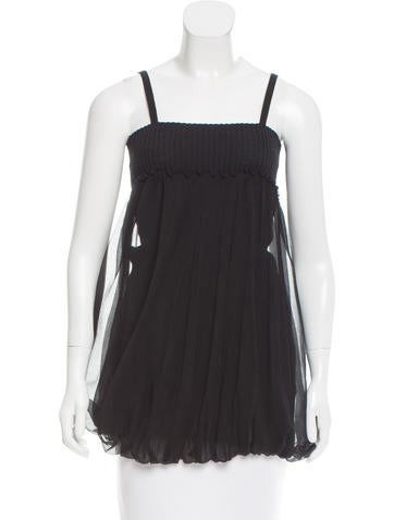 Jean Paul Gaultier Sheer Rib Knit-Trimmed Top None