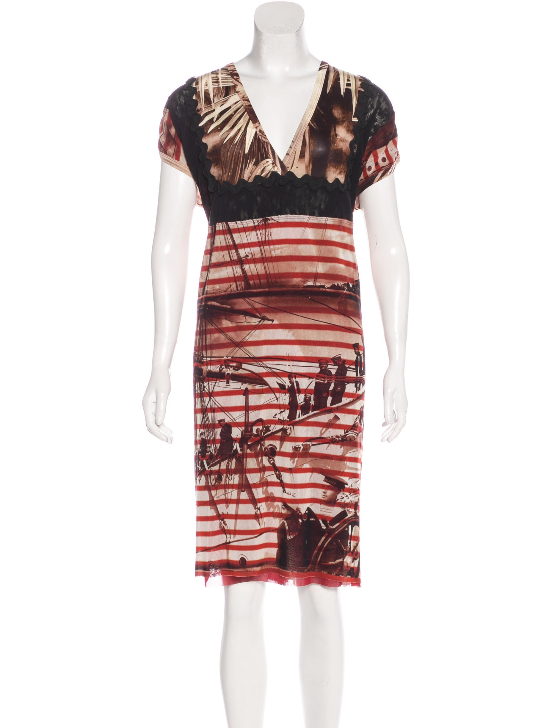 Jean paul gaultier printed short sleeve dress clothing for Jean paul gaultier clothing